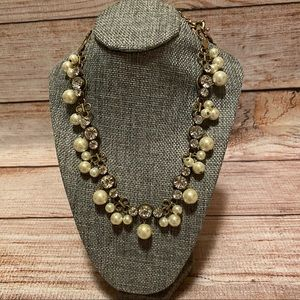 """J. Crew """"Floating Gems"""" Pearl/Crystals Necklace"""